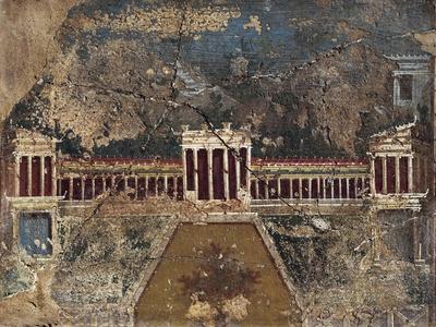 Ancient Roman Fresco with Architectonic Themes from Pompeii