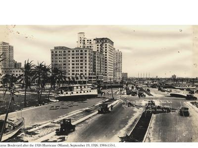 Biscayne Boulevard after the 1926 Hurricane, 19 September 1926