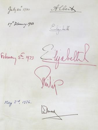 Royal Signatory Pages, from the Register of Members at the Royal Institution