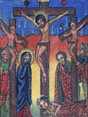 Crucifixion, Manuscript in Museum of Church of St Mary of Zion