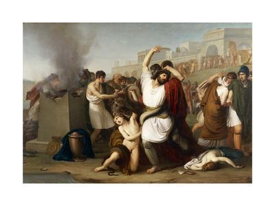 Italy, Milan, Painting of Troyan Priest Laocoon