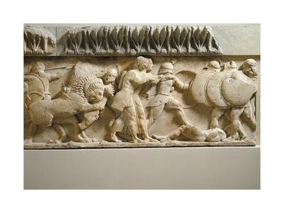 Greek Civilization, Gigantomachy, Detail of North Side of Frieze of Siphnian Treasury, Circa 525 BC