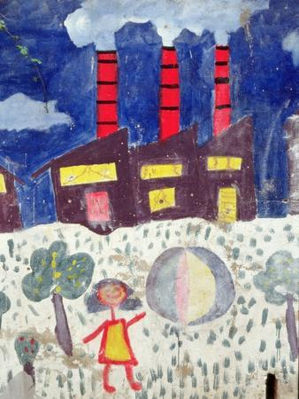 Children's Painting of Poble Sec Power Station on a Street Wall