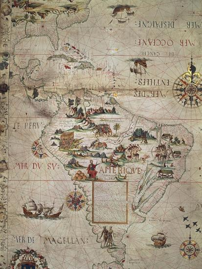 Map of Central and Southern America, 1550