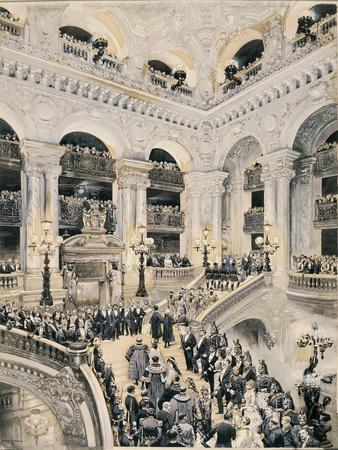 Inauguration of Paris Opera, Entrance of Spectators on Staircase, 1875
