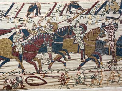 Scene of Knights in Battle, Detail from Bayeux Tapestry or Tapestry of Queen Matilda, France