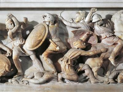 The Sarcophagus of Alexander in Marble, from Sidon, Lebanon