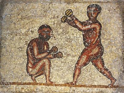 Tunisia, Thuburbo Majus, Mosaic Work Depicting Boxing Men