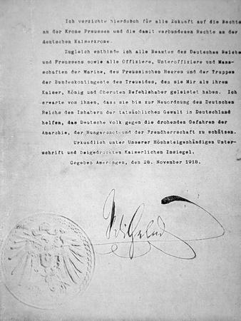 The Act of Abdication of Kaiser Wilhelm II of Germany, 28th November 1918