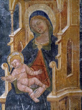 Madonna with Child, Detail of Fresco, Church of Santa Maria La Veterana, Bitetto