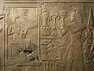 Egypt, Tomb of Royal Scribe Khaemhat, Bas-Relief Depicting Goddess of Fertility Nursing Baby