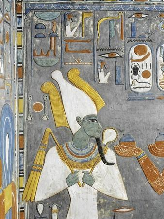 Egypt Valley of the Kings, Tomb of Horemheb, Mural Painting of Osiris, from Nineteenth Dynasty