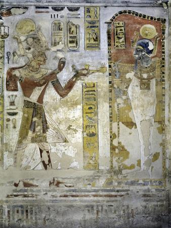 Egypt, Tomb of Ramses III, Mural Painting of Feline Skin, Bed and Headrest, from Twentieth Dynasty