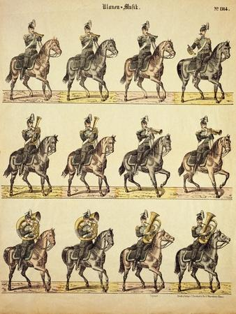 Musical Band of German Uhlans on Horseback, Published by Burckardt of Weissemburg