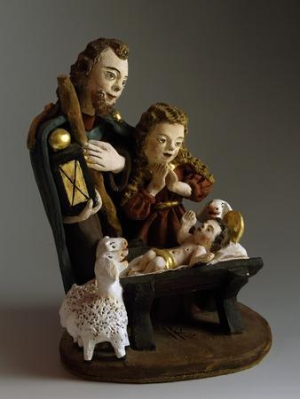 Nativity, Nativity Scene with Painted Wood Figurines, Austria
