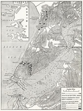 Map Illustrating the Operations of the Allies under Sir Ian Hamilton During the Gallipoli Campaign