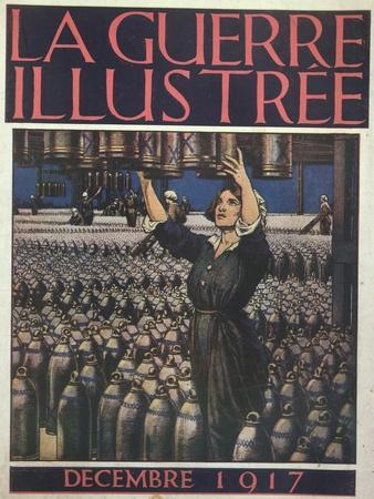 Woman Working in an English Munitions Factory, Front Cover of 'La Guerre Illustree', December 1917