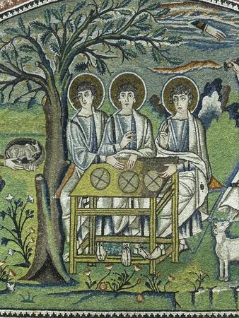 Close Up of Mosaic Representing Three Angels Announcing Abraham the Birth of Isaac