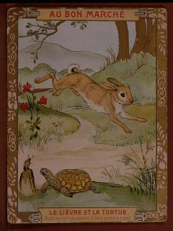 The Hare and the Tortoise, Advertisement for 'Le Bon Marche' Department Store, Early 20th Century