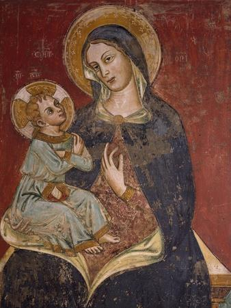 Madonna and Child, Detail of Fresco, Basilica of Santa Caterina D'Alessandria, Galatina, Italy
