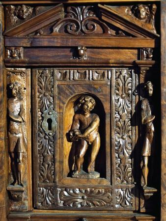Detail of Bambocci Decoration of Writing Cabinet of Ligurian Production, Italy, 16th Century