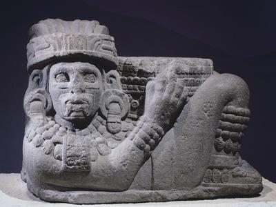 Typical Chac-Mool Sculpture in Basalt, Artifact Originating from Mexico