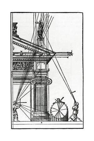Sixteenth Century Woodcut of Engineers Surveying a Classical Building