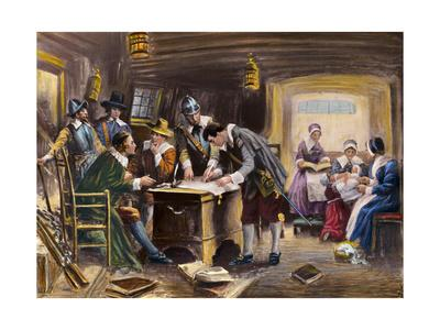 The Signing of the Mayflower Compact by E. Moran