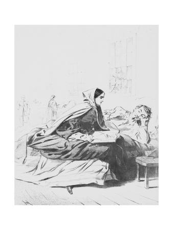 Drawing of Florence Nightingale Scripting a Soldier's Letter