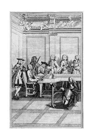 Engraving of a Traditional 18Th-Century Chamber Orchestra