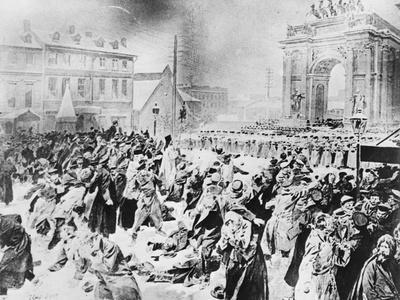 Illustration of Demonstrators Being Shot at Narva Gate, St. Petersburg