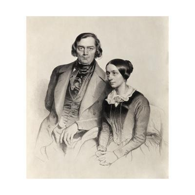 Lithograph of Robert Schumann Posing with His Wife by Hofelich