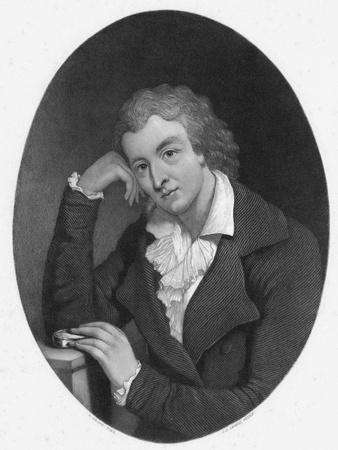 Illustration of Poet Friedrich Schiller in Thoughtful Pose