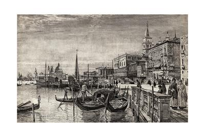 Illustrated View of Gondolas in Venice