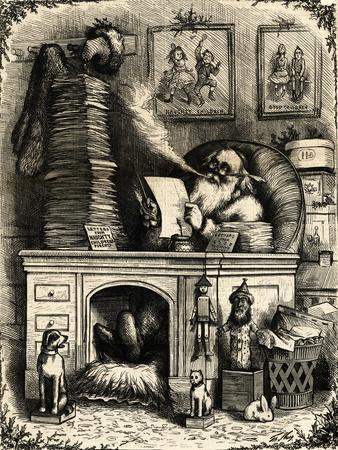 Woodcut; Santa Claus on Christmas Night