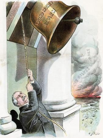 Political Cartoon of President Cleveland Pulling Bell by C.J. Taylor