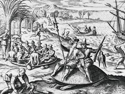 Dutch Explorers Enjoying Island