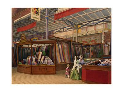 Color Print Depicting a Textile Display at the 1851 London Exposition