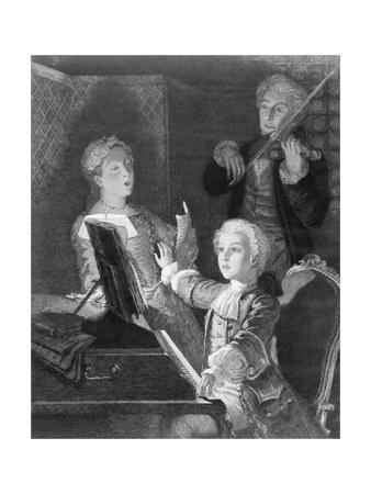Mozart and Accompanists Rehearsing at Piano