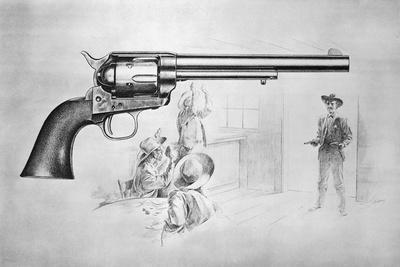 Depiction of Sheriff Entering Door behind Superimposed Gun