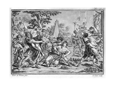 Lithograph of the Rape of the Sabines