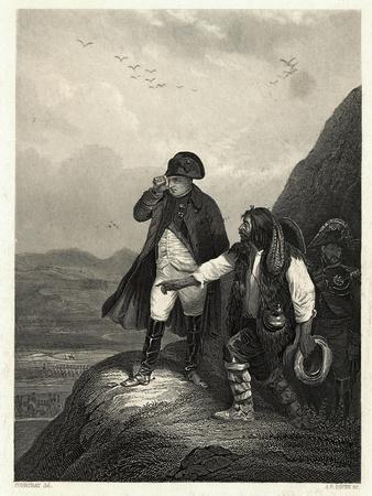 Illustration of Napoleon on Mountain Side