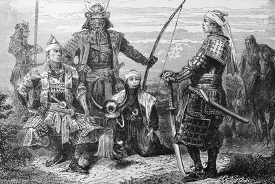 Japanese Warrior Yoshitsulne Minamoto and His Men Outdoors
