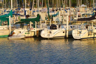 Boat docks and boats at Indiana Dunes, Indiana, USA