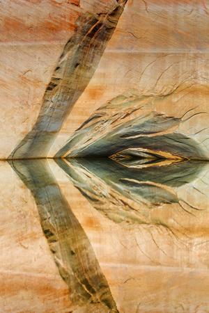 USA, Utah, Glen Canyon Nra. Abstract Reflection of Sandstone Wall