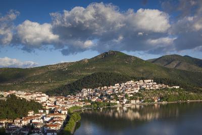 Greece, Kastoria, Town by Lake Orestiada from Agia Sotira Church
