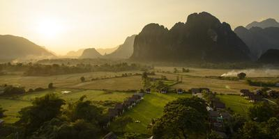 Laos, Vang Vieng. Sunset View from Hot Air Balloon