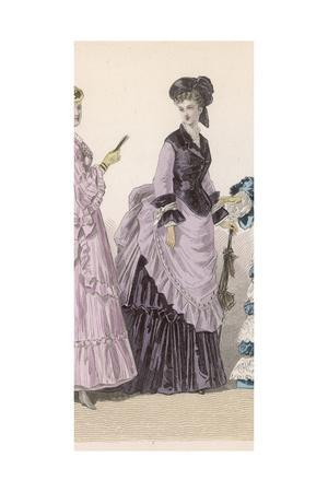 Lilac and Black Dress 1870