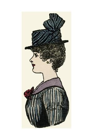 Profile of a Victorian Woman Wearing Hat 1884