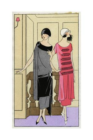Two Young Ladies in Outfits by Drecoll